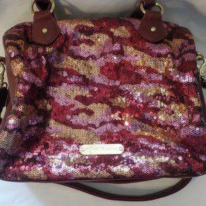 Betsey Johnson purse burgundy sequin large EUC